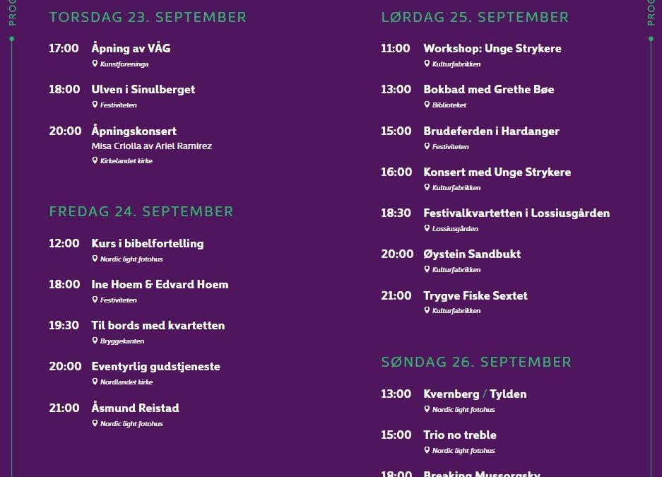 Programoversikt for Festspillene i Kristiansund 2021